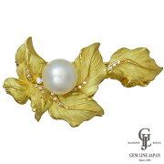 【美品】K18パールブローチ南洋真珠13.5mm上質ダイヤ0.19ctリーフモチーフイエローゴールド【中古】