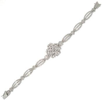 フラワーモチーフダイヤモンド計1.58ctホワイトゴールドブレスレット【】