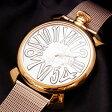 ガガミラノ スリム 46mm ゴールドプレート 5081.2 シルバー文字盤 ステンレススチール製 クォーツ式 ユニセックス腕時計【新品】