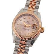 【中古】ロレックスデイトジャスト179171G10Pダイヤ入ピンク文字盤D番ルーレット刻印ありコンビSR自動巻きレディース腕時計