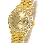 【中古】仕上げ済【ROLEX】ロレックスデイトジャスト69158シャンパンゴールド10PダイヤYGW番自動巻きレディース腕時計