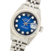 【中古】ロレックスデイトジャスト79174GブルーグラデーションA番自動巻レディース腕時計