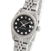 【ROLEX】ロレックスデイトジャスト79174Gブラック10PダイヤWG/SS自動巻きレディース腕時計【中古】