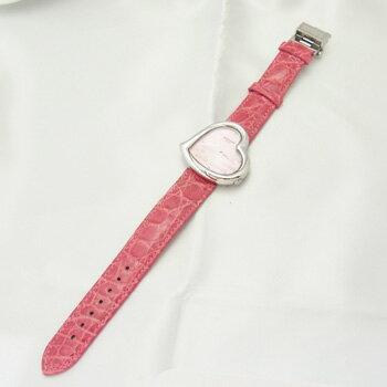 【ROCHAS】ロシャスRJ68ハート型ピンク文字盤ステンレススチール製×ピンクカラークロコレザー38mmスイス製クォーツ式レディース腕時計【新品】