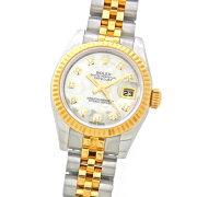 【中古】ロレックスデイトジャスト179173NGホワイトシェル10Pダイヤ入りSS/YGコンビランダムルーレット刻印あり自動巻レディース腕時計