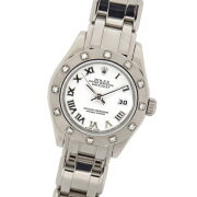ロレックスデイトジャスト80319パールマスター29mmK番K18WG無垢ホワイトゴールド製ダイヤベゼルホワイトローマ自動巻レディース腕時計【中古】