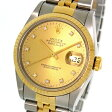 ロレックス デイトジャスト 16233G シャンパンゴールド文字盤 10Pダイヤモンド ステンレス・イエローゴールド製 コンビ 自動巻きメンズ腕時計【中古】