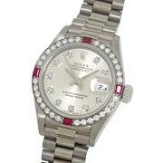 ロレックスデイトジャスト69069Gダイヤ/ルビーベゼルホワイトゴールド製金無垢シルバー文字盤10Pダイヤモンドインデックスカレンダー付き自動巻レディース腕時計