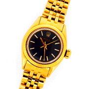 アンティークロレックスオイスターパーペチュアル6509イエローゴールド製K18YGブラックダイヤル自動巻レディース腕時計【中古】