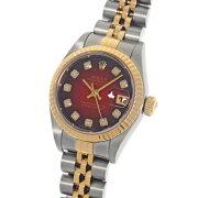 ロレックスデイトジャスト79173Gチェリーグラデーション10PダイヤモンドインデックスF番ステンレススチール・イエローゴールド製SS/YGコンビカレンダー付き自動巻レディース腕時計