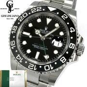 【中古】ギャラ付ロレックスGMTマスターII116710LN黒/黒ランダム番ルーレット刻印鏡面バックルメンズ腕時計
