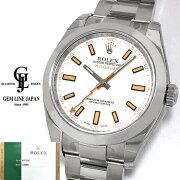 【中古】無記名ギャラ付保護シール付ロレックス116400ミルガウスV番白文字盤生産終了モデルメンズ腕時計