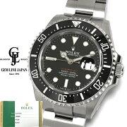 【中古】ギャラ付き保護シール付ロレックスシードゥエラー126600黒文字盤赤シードメンズ自動巻き腕時計