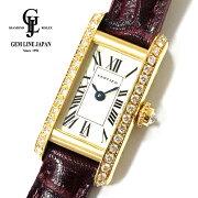 【中古】カルティエタンクアロンジェ1380YG純正ダイヤモンドレディースクォーツ腕時計