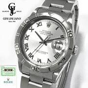 【中古】ギャラ付ロレックスデイトジャスト16264サンダーバードY番メンズシルバーローマ腕時計
