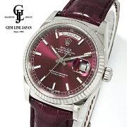 【中古】ロレックスデイデイト36チェリー118139ランダム番ルーレット刻印WG/革メンズ自動巻腕時計