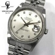 【中古】ギャラ付ロレックスデイトジャスト16234GX番WG/SS純正10Pダイヤモンドメンズ腕時計
