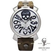 【中古】ガガミラノメンズ時計マヌアーレ48mmアートコレクション5010ART.01Sスカルシルバー文字盤SS×革シースルーバックスモールセコンドスイス製手巻き腕時計
