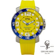 【中古】アイティーエーメンズ時計クォーツコルサロ13.01.11イエロー×ブルー3DインデックスSS×ラバー45mmカレンダー機能