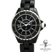 【中古】シャネル時計J12レディースブラックセラミック33mmクォーツ黒文字板アラビア数字カレンダー付きH0682女性用腕時計