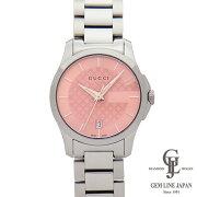 【中古】グッチ時計レディースGタイムレスクォーツスモール27mmピンク文字盤YA126524ステンレススチール女性用腕時計