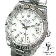 【中古】美品ギャラ付ロレックス116334デイトジャストIIホワイト文字盤メンズ自動巻き腕時計