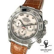 【中古】美品2019年3月メーカーOH済ロレックスコスモグラフデイトナ116519NAK番メンズK18WG腕時計