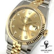 【中古】美品ロレックスデイトジャスト116233Gシャンパンゴールド10Pダイヤコンビメンズ腕時計
