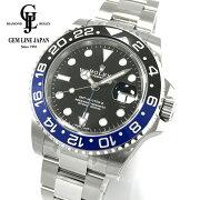 【新品】ギャラ・保護シール付ロレックスGMTマスターII116710BLNR生産中止モデル青/黒ルーレット刻印メンズ腕時計