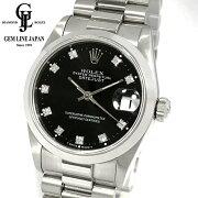 【中古】ロレックスPT無垢68246GデイトジャストN番10Pダイヤ黒文字盤ボーイズ腕時計
