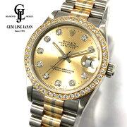 【中古】ロレックスデイトジャスト68289BICトリドールW番純正ダイヤモンドベゼル/10Pダイヤモンドボーイズ腕時計