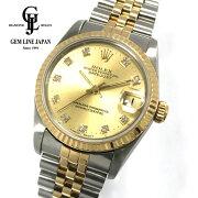 【中古】ギャラ付ロレックスデイトジャスト68273G純正10PダイヤモンドYG/SSボーイズ腕時計