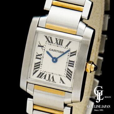 【中古】カルティエ タンクフランセーズ SM W51007Q4 2384 YG/SS コンビ レディース 腕時計
