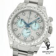 【中古】美品ギャラ付ロレックスデイトナ116576TBRプラチナパヴェダイヤモンドメンズ腕時計