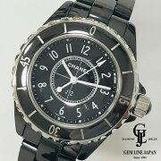 【中古】シャネルJ12H0682黒セラ33mmQZレディース腕時計