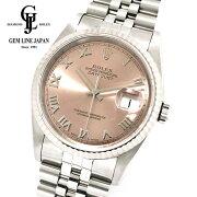 【中古】ギャラ付ロレックスデイトジャスト16234U番WG/SSメンズローマ腕時計