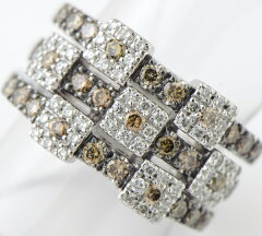 ポンテヴェキオブラウンダイヤ計0.87ctホワイトダイヤ計0.34ctリング#8.518金ホワイトゴールド【】(2200000195661)