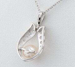ミキモト サイズ直径約8.1mm アコヤ真珠 ダイヤモンド 18金ホワイトゴールド ペンダント・ネックレス【】(2200000221889)