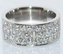 VSクラスラージメレダイヤモンド-1.37ct極太平打ち無垢デザインオリジナルPtパヴェリング【店頭受取対応商品】