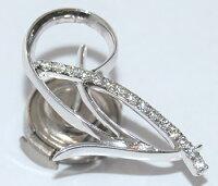 【送料無料】K18WGダイヤモンド-0.11ctデザインラペルピン/ピンバッジ