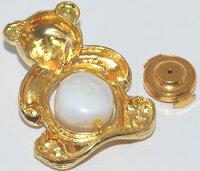 【送料無料】K18セミバロック系淡水真珠/パール-11mmアップ&ダイヤモンドクマさん/bareデザインピンバッジ/ラペルピン