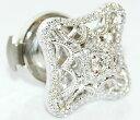 ダイヤモンド-0.25ctミル打ちアンティーク風デザインK18WGピンバッジ/ラペルピン【受注発注】