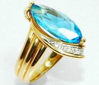 【送料無料】Pt/K18マーキスカットブルートパーズ&ダイヤモンド大ぶりデザインリング