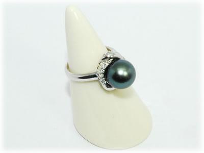 南洋黒蝶真珠 タヒチパール-10.3mm&ダイヤモンド Pt デザイン リング 指輪 【店頭受取対応商品】