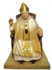 《レーピ》欧州教会使用創業100年木彫りブランド木彫り聖人 ローマ教皇・法王「ヨハネ・パウロ2世」カラー仕上げ(手彩色)高さ 12cm 保証書付【イタリア】