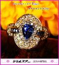 指もとに巻く煌びやかなジュエルベルト!魅惑の濃く明るい上質ブルー♪K18サファイア1.36ct(D0.73ct)リング!