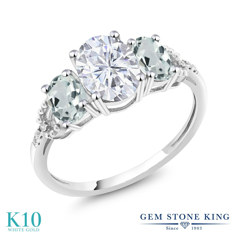 Gem Stone King 2.4カラット Forever One GHI モアッサナイト Charles & Colvard 天然 アクアマリン 天然 ダイヤモンド 10金 ホワイトゴールド(K10) 指輪 リング レディース モアサナイト 大粒 スリーストーン 金属アレルギー対応 誕生日プレゼント