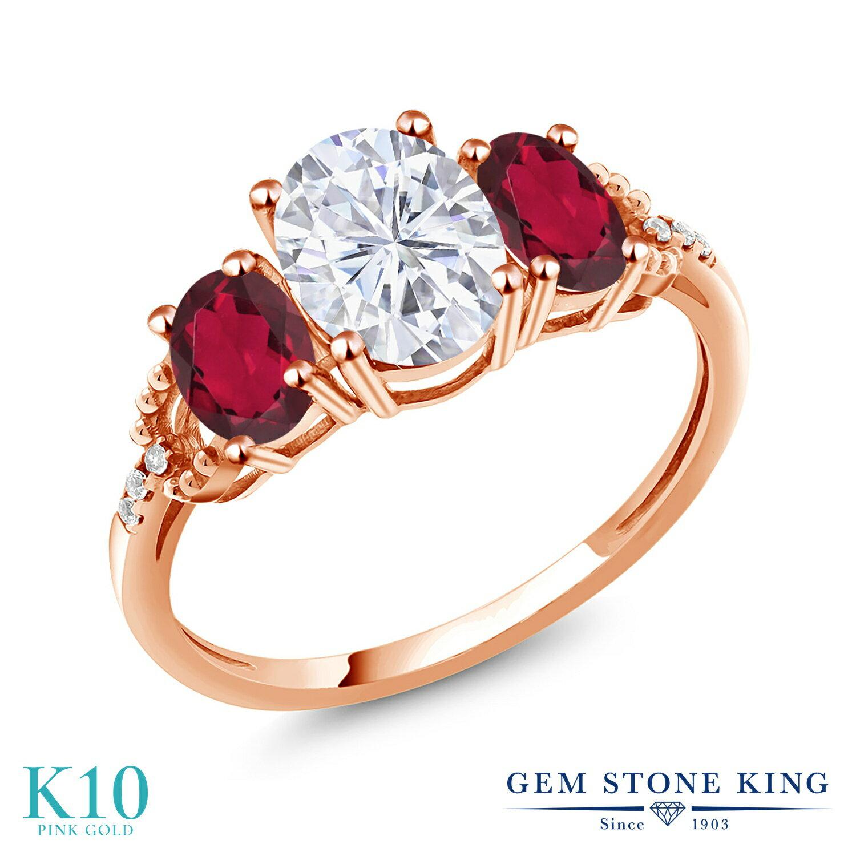 Gem Stone King 2.54カラット Forever One GHI モアッサナイト Charles & Colvard 天然ミスティックトパーズ(ルビーレッド) 天然ダイヤモンド 10金 ローズゴールド(K10) 天然ダイヤモンド 指輪 リング レディース モアサナイト 大粒 誕生日プレゼント