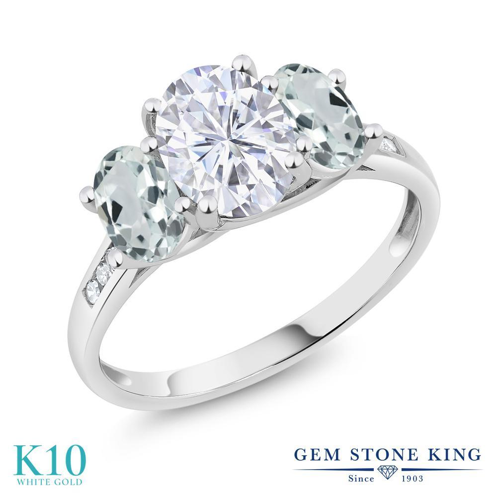 Gem Stone King 2.36カラット Forever One GHI モアッサナイト Charles & Colvard 天然 アクアマリン 天然 ダイヤモンド 10金 ホワイトゴールド(K10) 指輪 リング レディース モアサナイト 大粒 スリーストーン 金属アレルギー対応 誕生日プレゼント