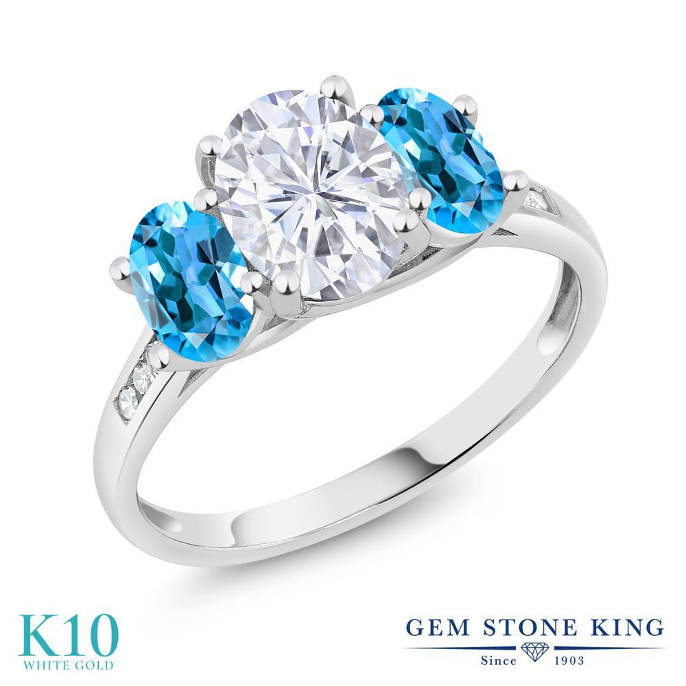 Gem Stone King 2.5カラット Forever One GHI モアッサナイト Charles & Colvard 天然 スイスブルートパーズ 天然 ダイヤモンド 10金 ホワイトゴールド(K10) 指輪 リング レディース モアサナイト 大粒 スリーストーン 金属アレルギー対応 誕生日プレゼント